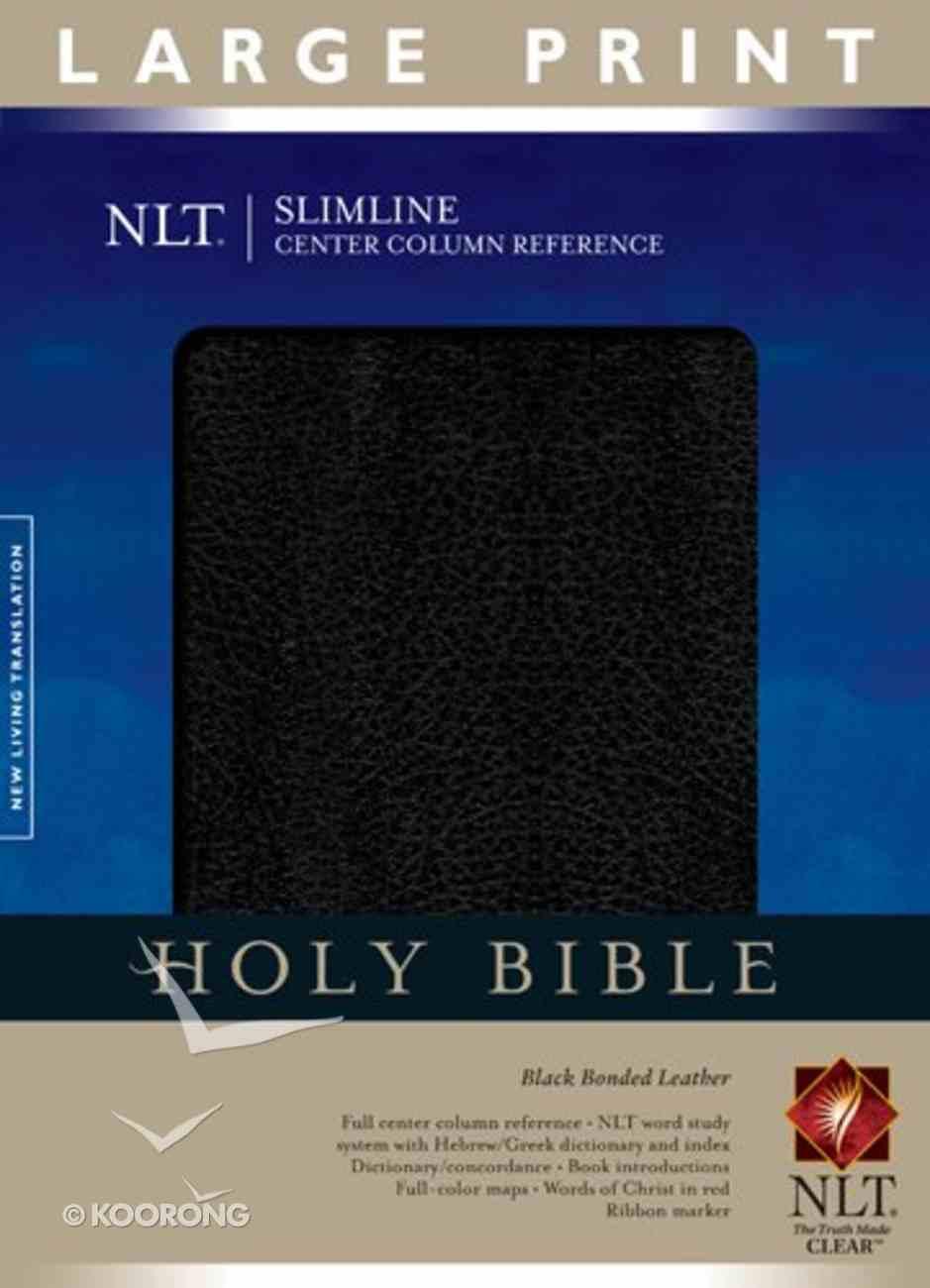 NLT Slimline Center Column Reference Large Print Black Bonded Leather