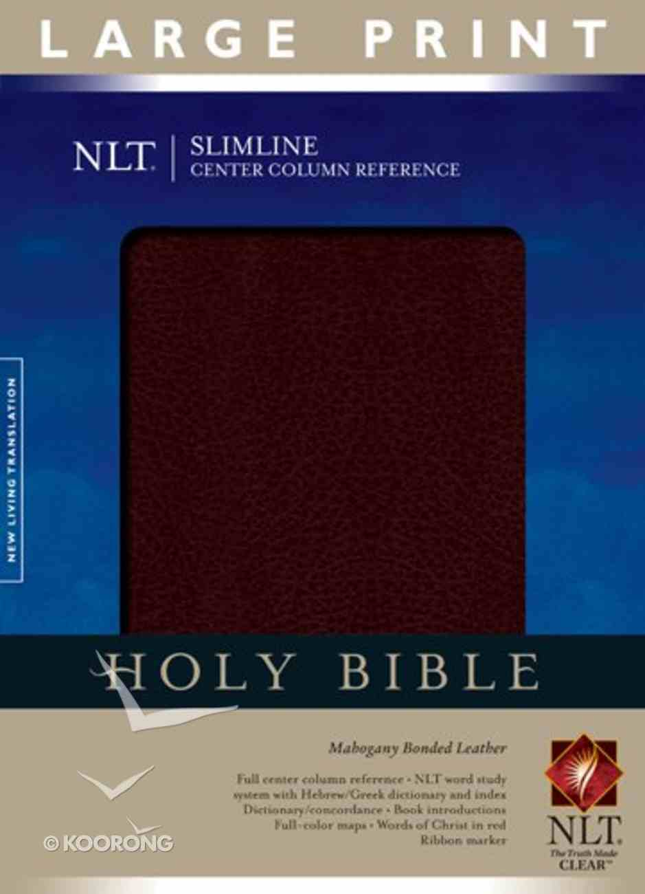 NLT Slimline Center Column Reference Large Print Mahogany (Red Letter Edition) Bonded Leather