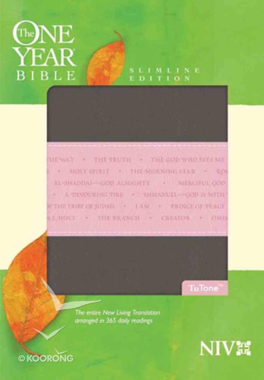 NIV One Year Bible Slimline Heather Gray/Pink (Black Letter Edition) Imitation Leather