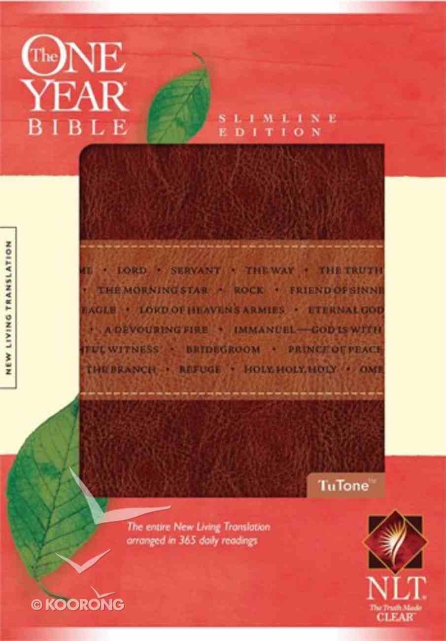 NLT One Year Slimline Brown/Tan (Black Letter Edition) Imitation Leather