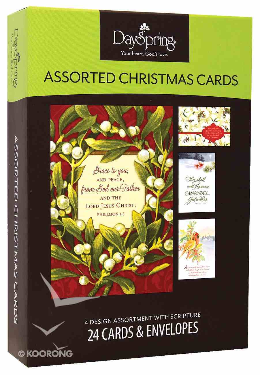 Christmas Boxed Cards: Birds & Berries, Assorted 24 Cards/4 Designs Box