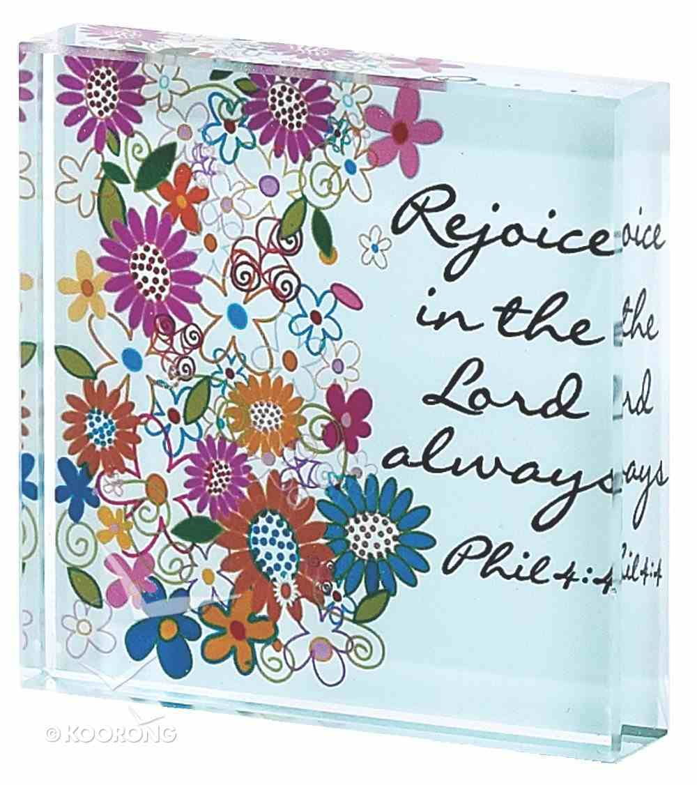 Glass Plaque: Floral Pattern Rejoice in the Lord Philippians 4:4 Homeware