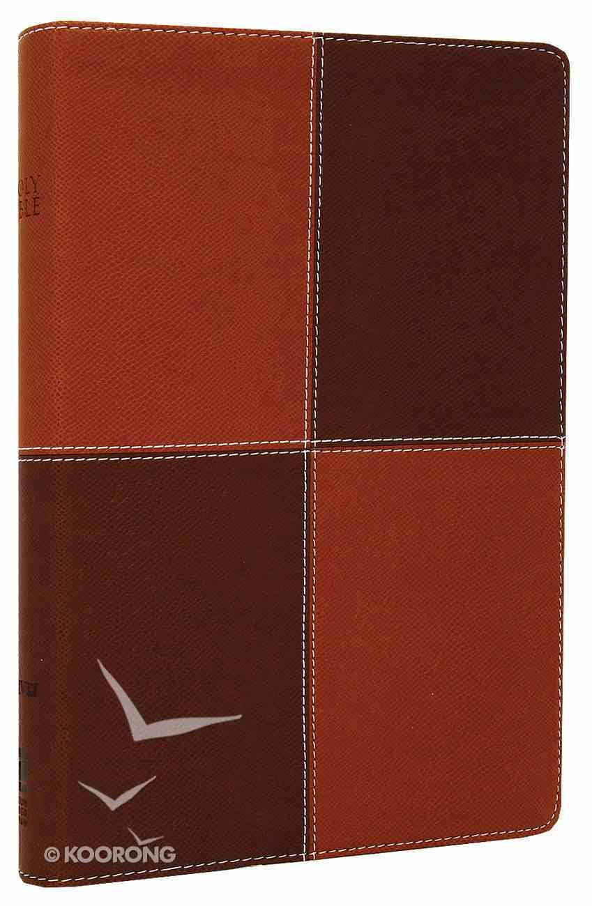 NIV Large Print Thinline Caramel Chocolate Duo-Tone (Red Letter Edition) Imitation Leather
