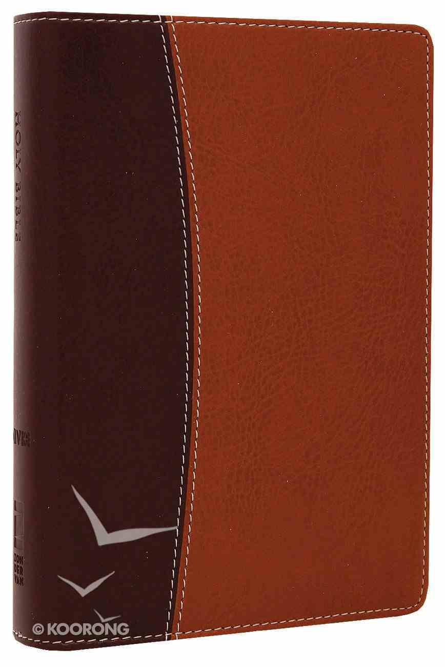 NIV Compact Thinline Reference Bible Burgundy/Tan Duo-Tone (Red Letter Edition) Imitation Leather