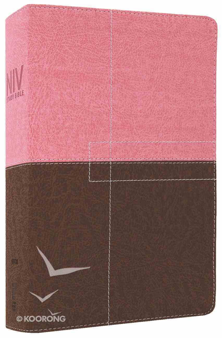NIV Study Bible Regular Berry Creme/Chocolate (Red Letter Edition) Premium Imitation Leather
