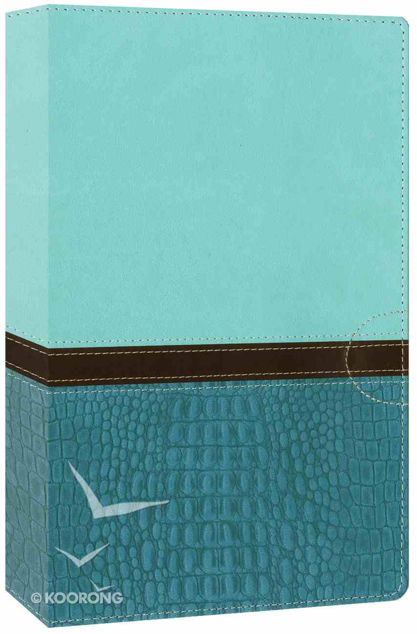 NIV Study Bible Large Print Turquoise/Carribean Blue (Red Letter Edition) Premium Imitation Leather