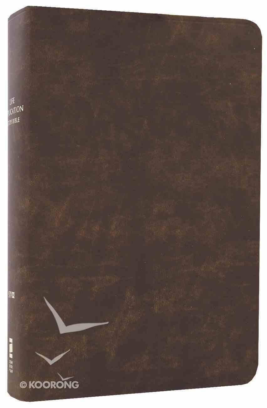 NIV Life Application Study Bible Distressed Brown (Red Letter Edition) Bonded Leather