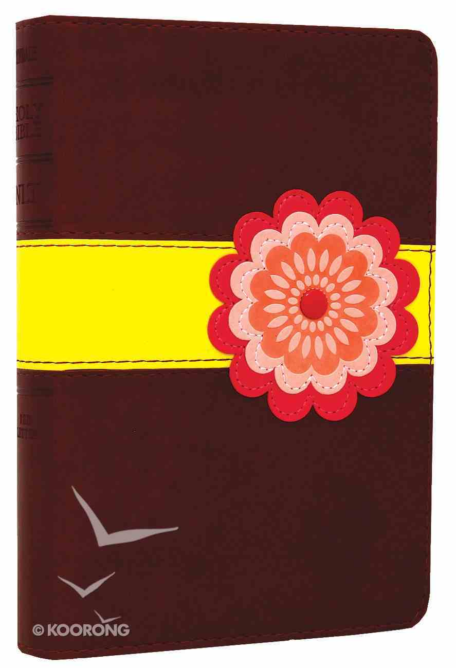 NLT Compact Bible Pink Flower With Burnt Sienna/Sour Apple (Black Letter Edition) Imitation Leather