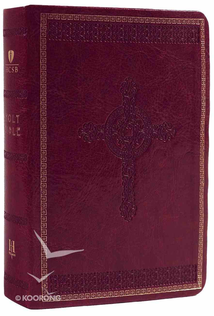HCSB Compact Large Print Burgundy Cross Design Imitation Leather