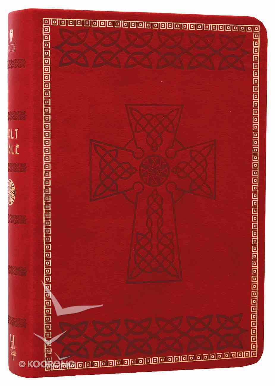 HCSB Compact Large Print Crimson Red Celtic Design Imitation Leather