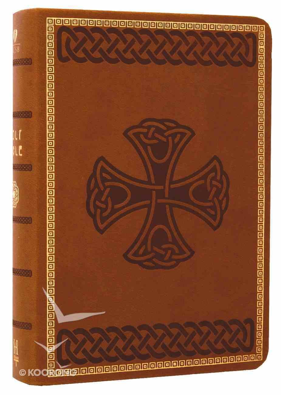 HCSB Compact Large Print Tan Celtic Design Imitation Leather