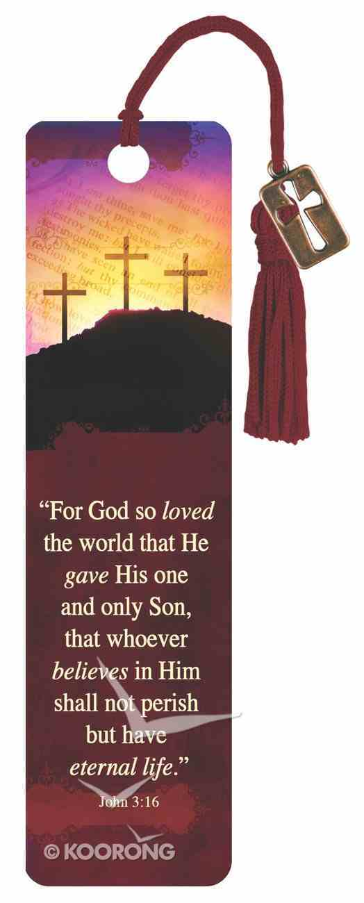 Bookmark With Tassel and Charm: For God So Loved, John 3:16 Stationery