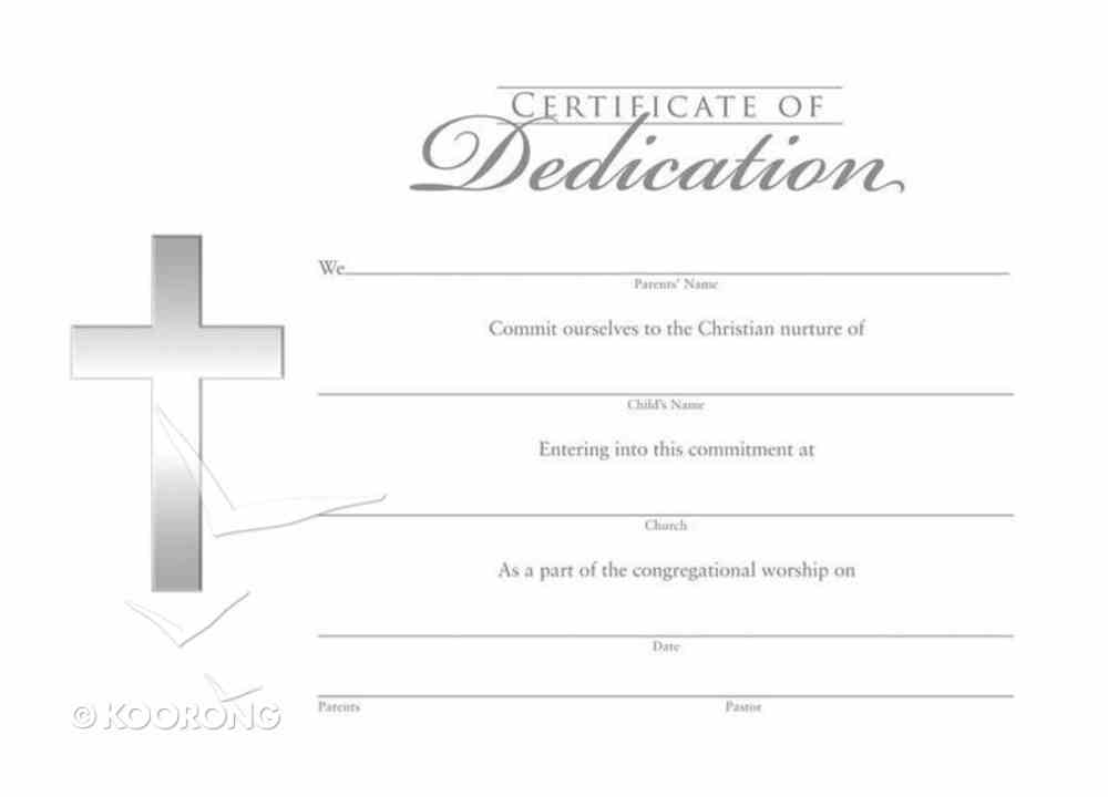 Dedication Certificate Flat Silver Foil (Pk 6) Church Supplies