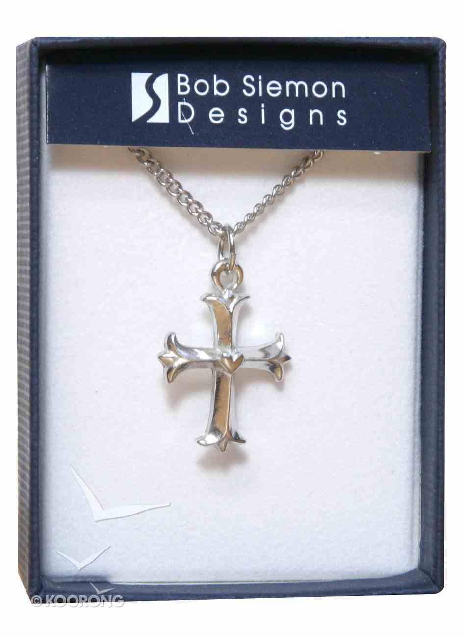Pendant: Cross Fleur With Heart (Pewter) Jewellery