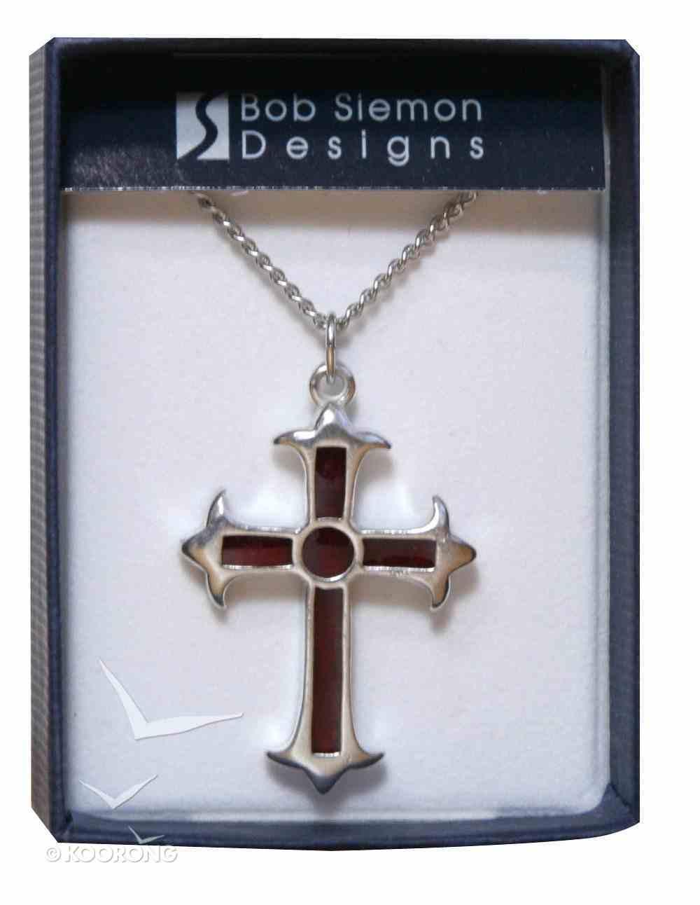 Pendant: Cross Fleur Red (Pewter) Jewellery