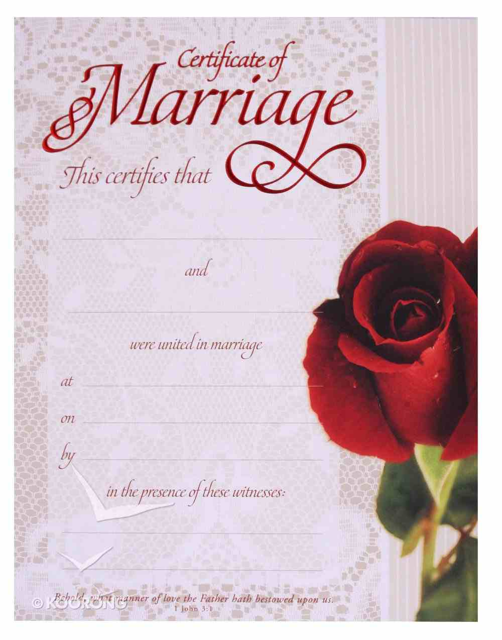 Certificate: Marriage Red-Foil Embossing (1 John 3:1) Church Supplies