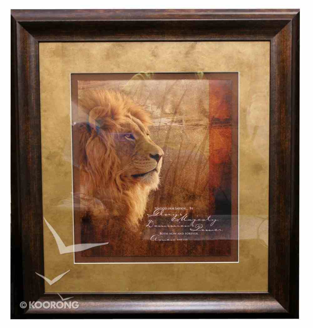 Framed Plaque: To God Our Savior Jude 25, Lion Plaque
