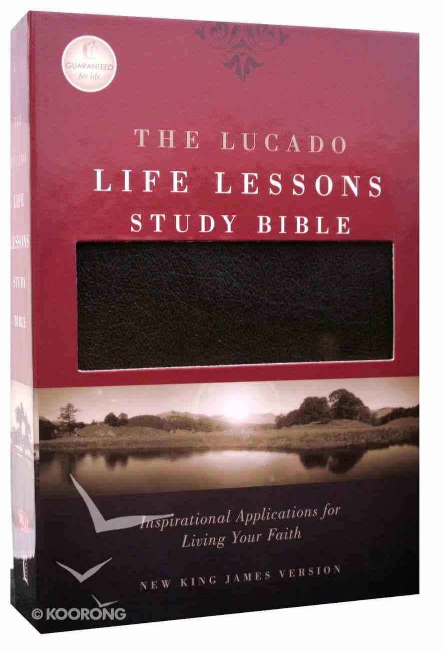 NKJV Lucado Life Lessons Study Bible Black Bonded Leather