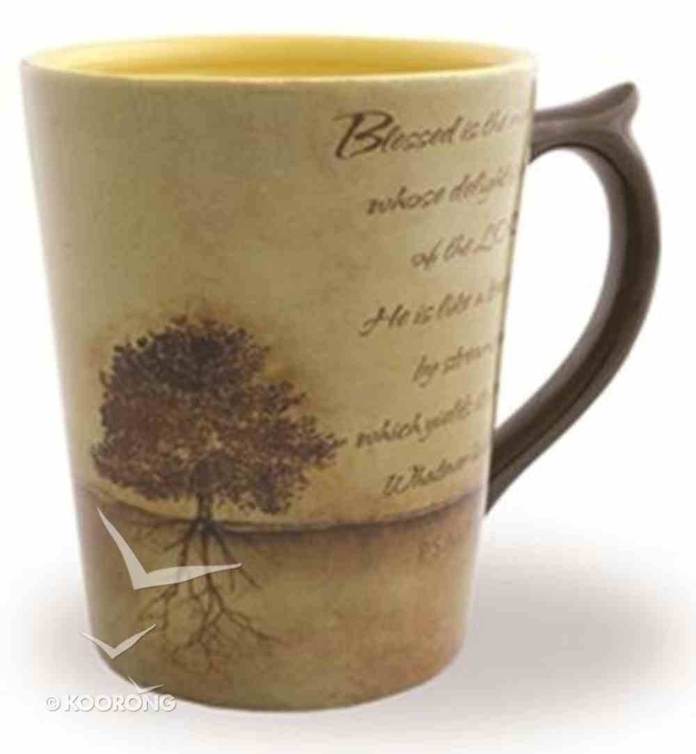 Classic Ceramic Mug: Planted Tree, (Psalm 1:1-3) (Tan/beige) Homeware
