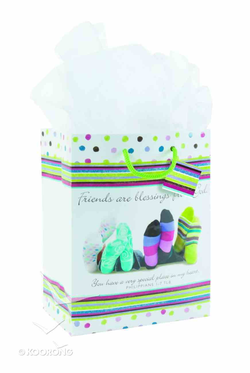 Gift Bag Medium: Friends Are Blessings From God (Incl Two Sheets Tissue Paper & Gift Tag) Stationery