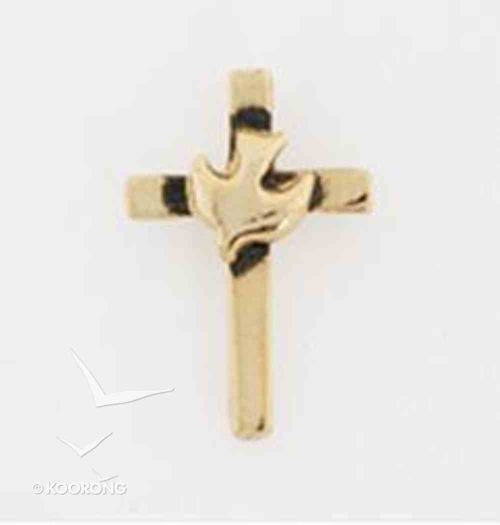 Lapel Pin Gold Cross With Dove Jewellery