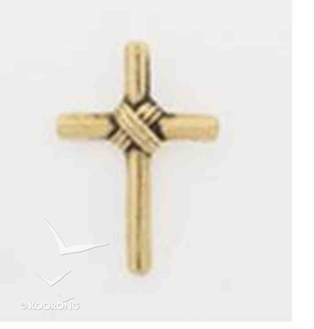 Lapel Pin Gold Wrapped Tube Cross Jewellery