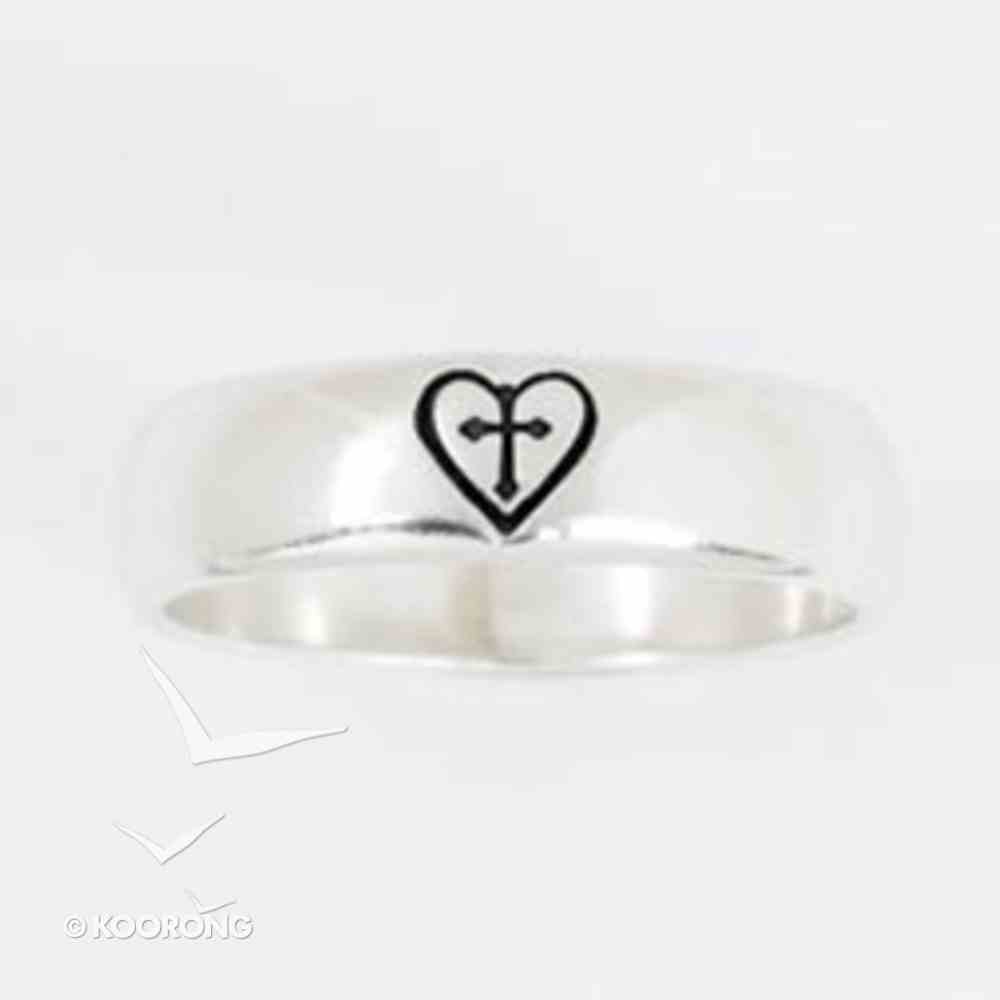 Ring: Heart/Cross Size 08 Sterling Silver Jewellery