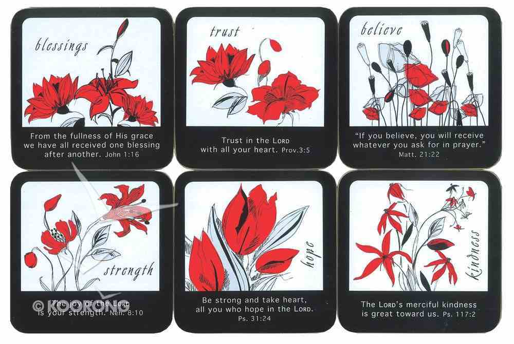 Coasters Set of 6: Black & Red Flowers With Scripture, 6 Designs Homeware