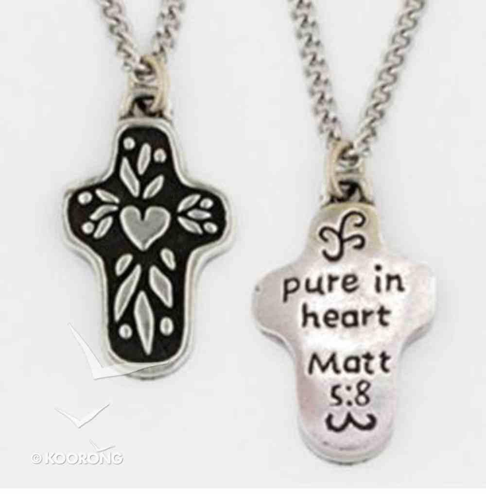 Pendant: Cross Pure in Heart (Pewter) Jewellery