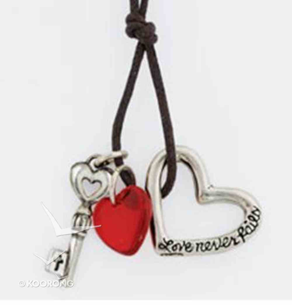 Pendant: Love Never Fails Heart and Key With Bead (Pewter) Jewellery