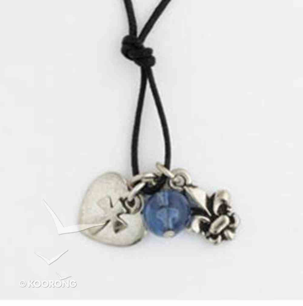 Pendant: Fleur-De-Lis and Cross on Heart With Bead (Pewter) Jewellery