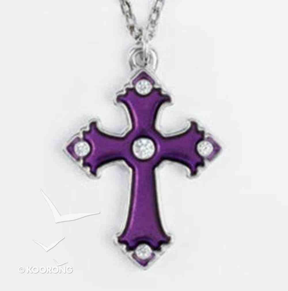 Pendant: Cross Amethyst Cubic Zirconias (Lead-free Pewter) Jewellery