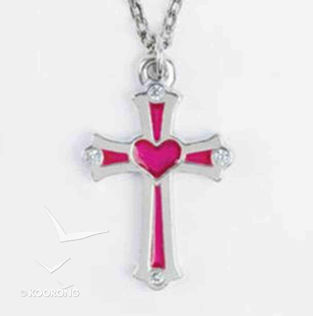 Pendant: Cross Heart Pink Cubic Zirconias (Lead Free Pewter) Jewellery