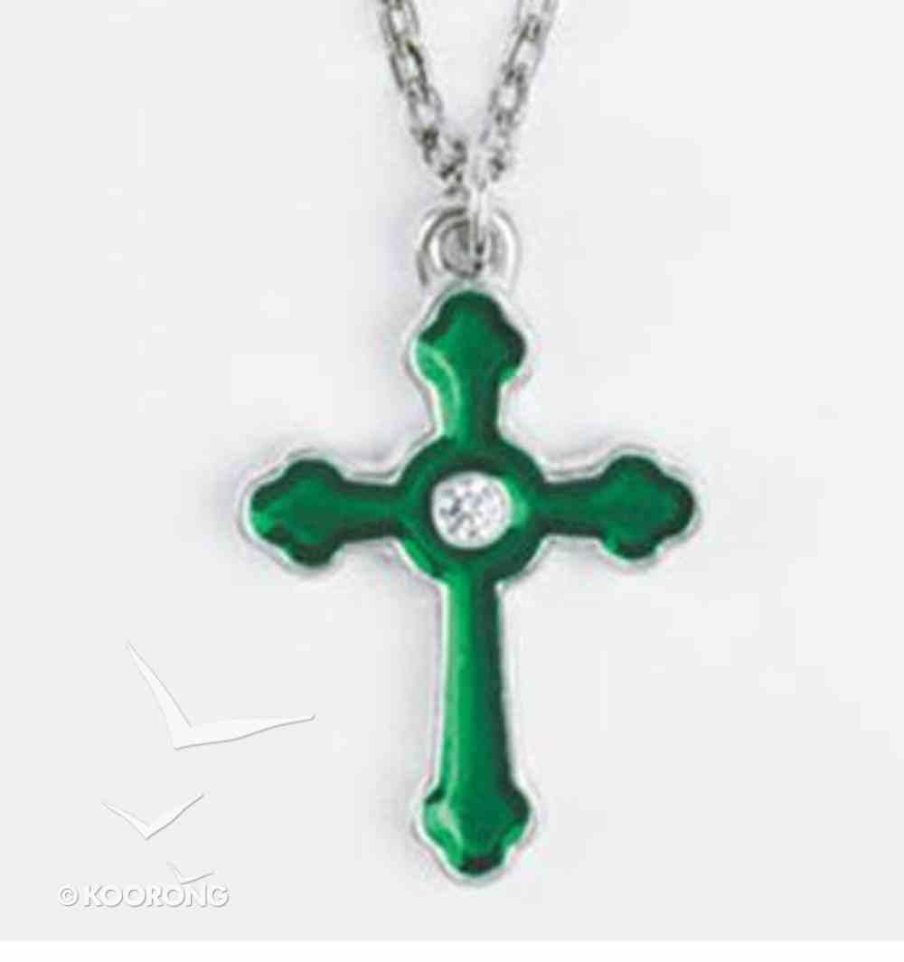 Pendant: Cross Green Cubic Zirconias (Lead-free Pewter) Jewellery