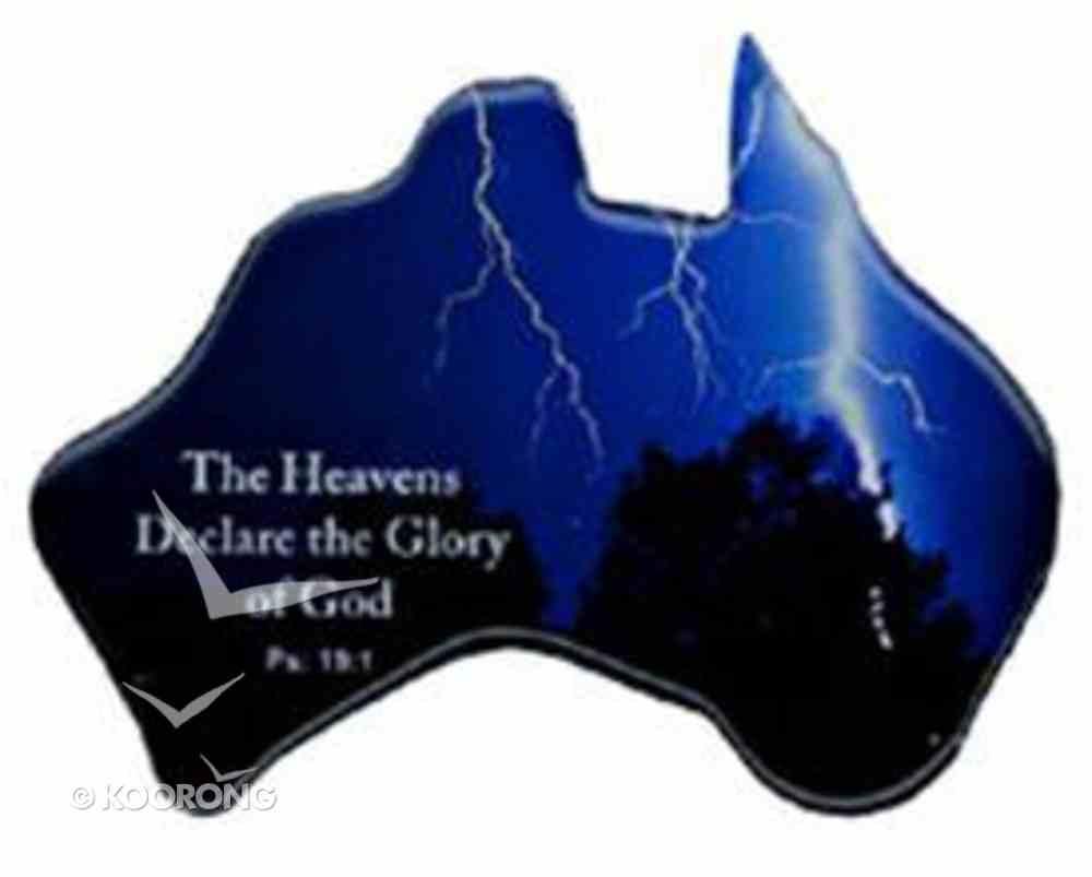 Christian Australia Map Shaped Resin Fridge Magnet: Lighting Blue/God's Glory Novelty
