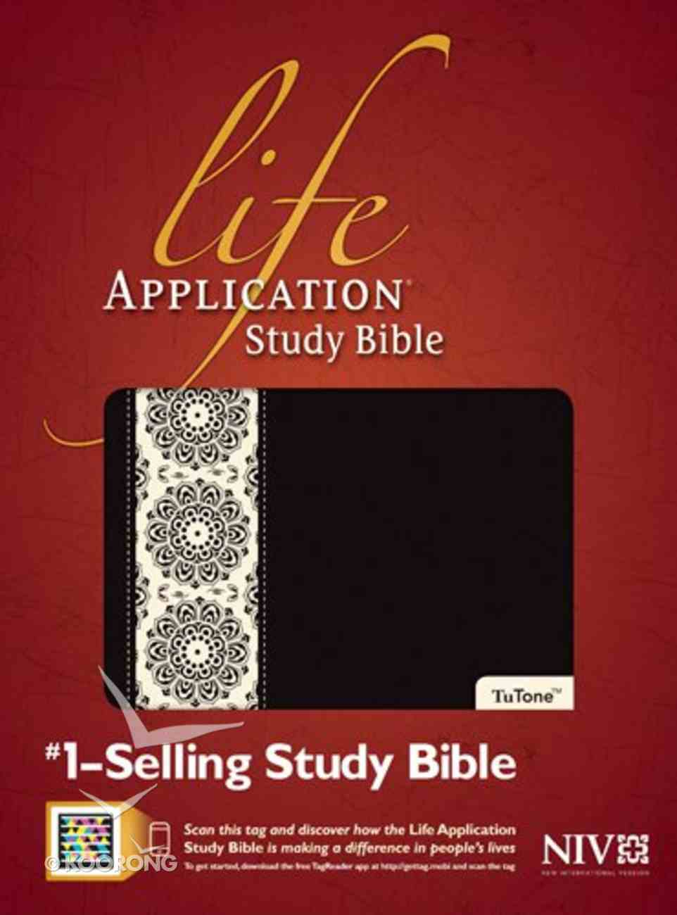 NIV Life Application Study Black/Ivory Floral Indexed Imitation Leather