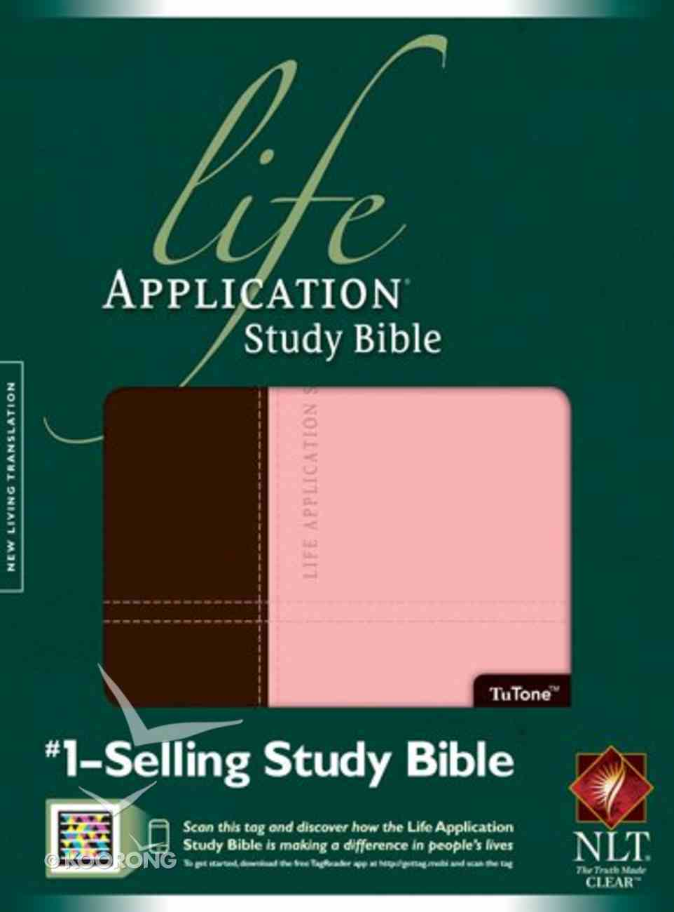 NLT Life Application Study Bible Dark Brown/Pink Indexed (Red Letter Edition) Imitation Leather