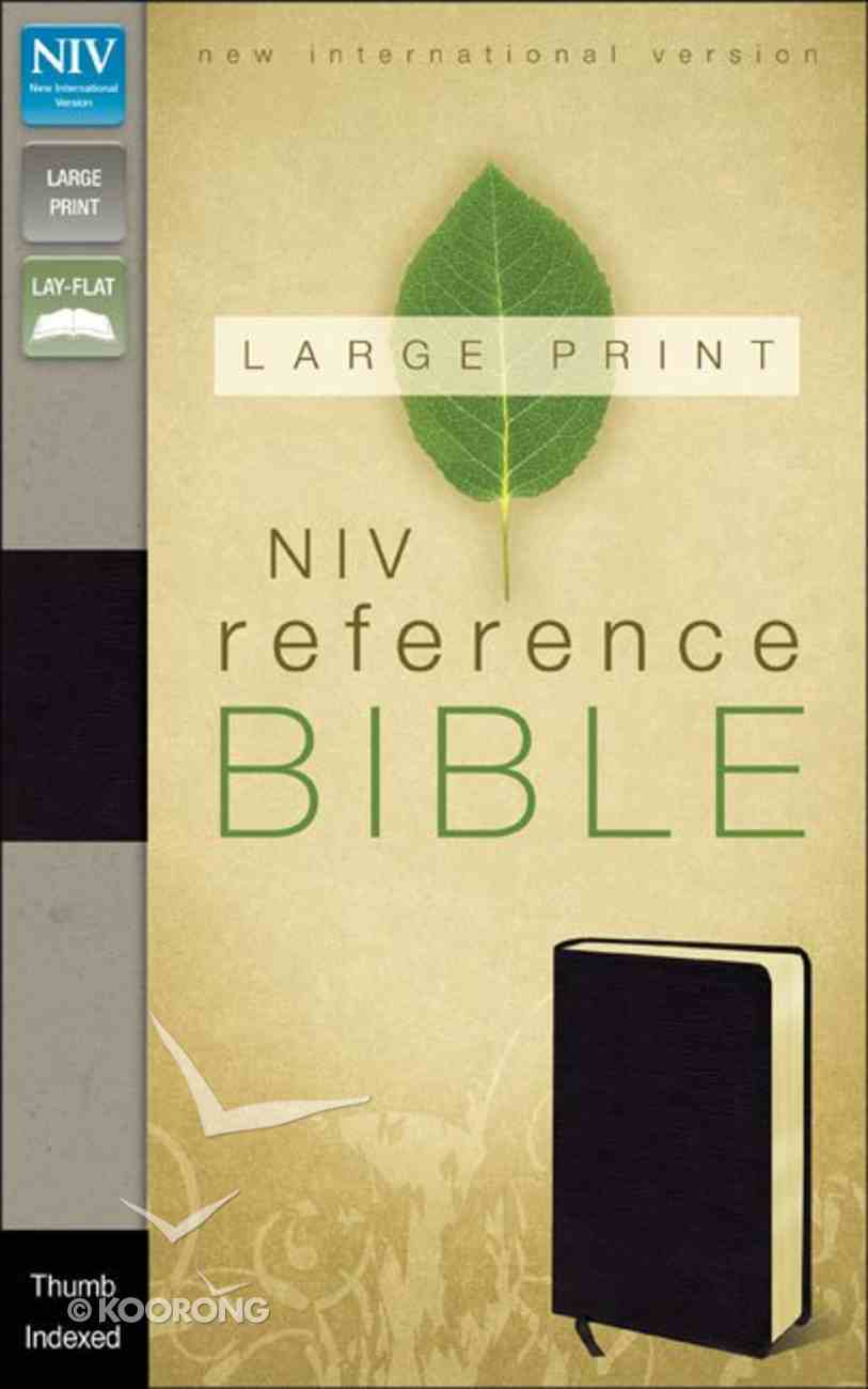NIV Large Print Reference Bible Black Indexed (Red Letter Edition) Bonded Leather