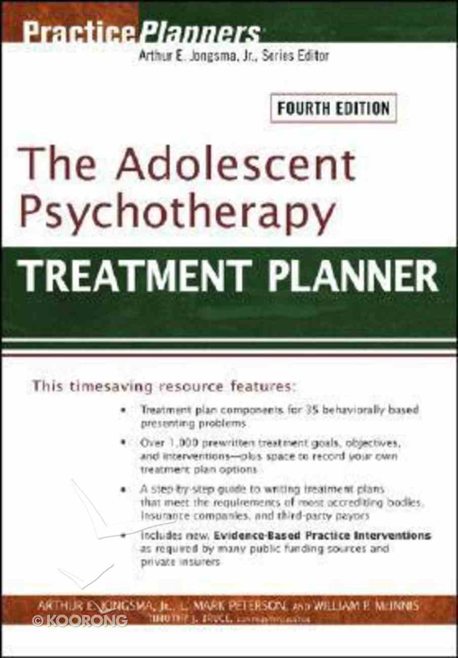 The Adolescent Psychotherapy Treatment Planner 4th Ed