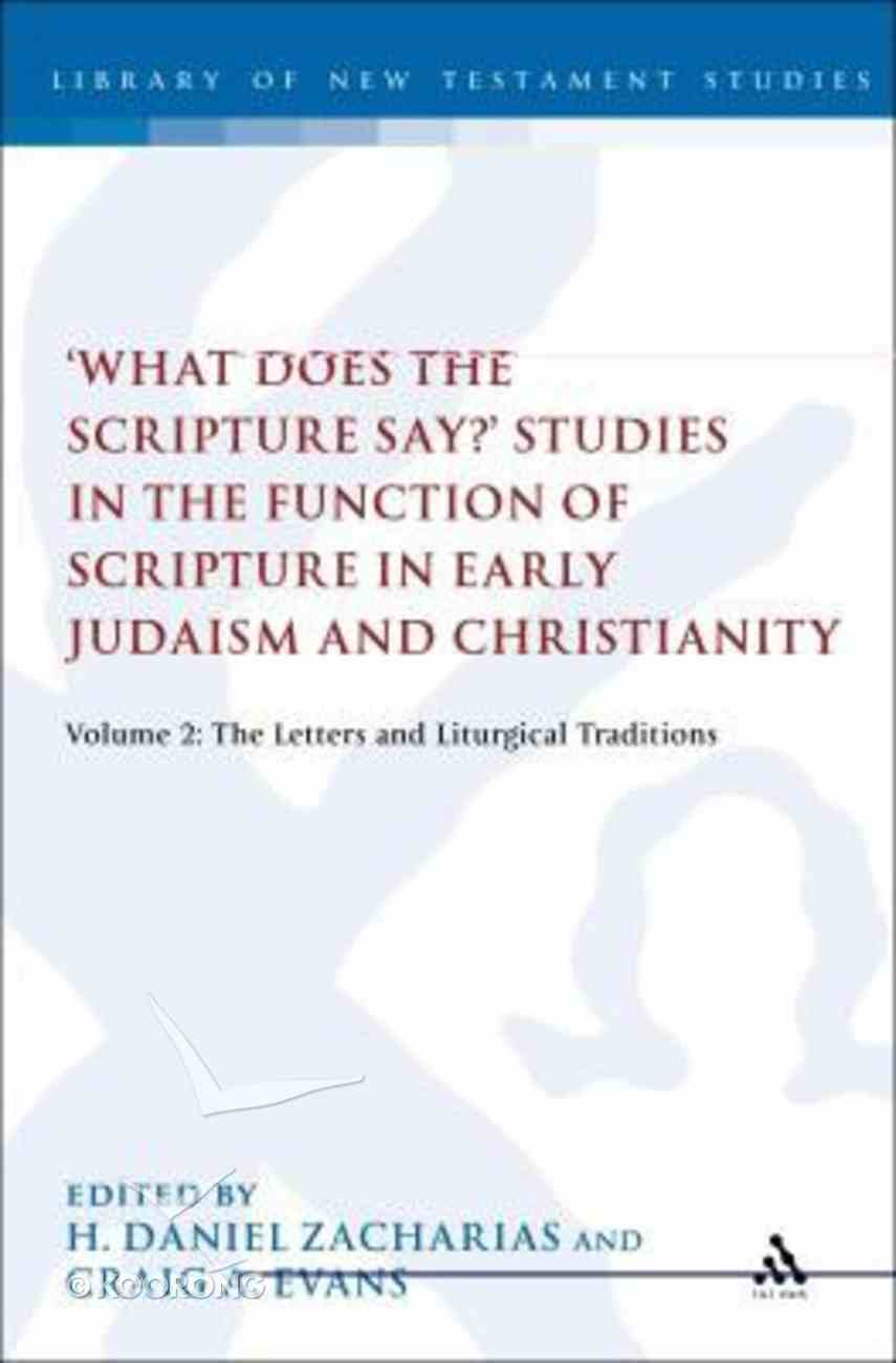 'What Does the Scripture Say?' Studies in the Function of Scripture in Early Judaism and Christianit (Volume 2) (Library Of New Testament Studies Series) Hardback