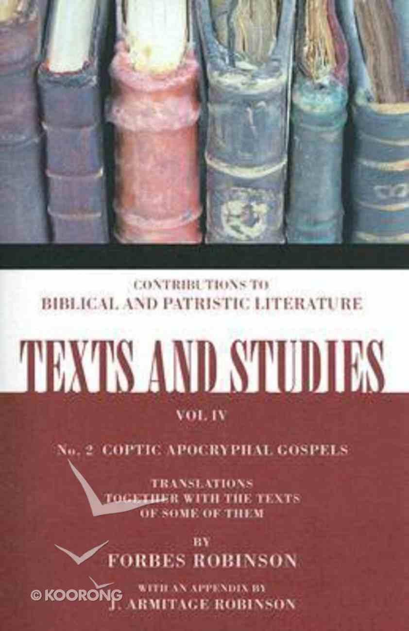 Coptic Apocryphal Gospels Paperback