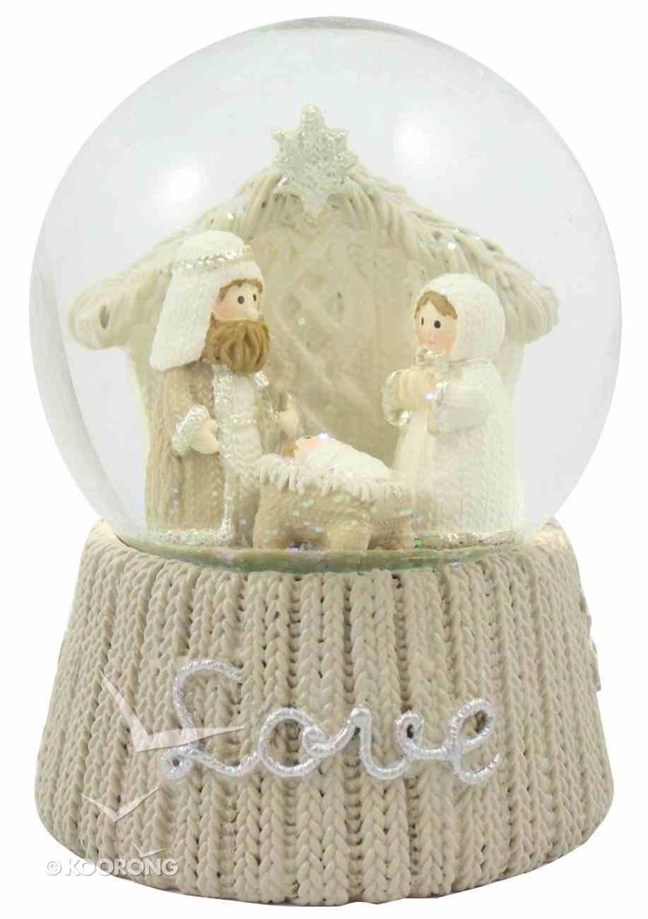 Knitted Nativity Waterglobe Love White/Beige Homeware