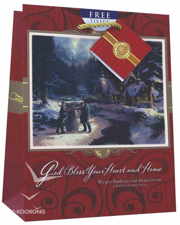 Christmas Gift Bag Medium: Thomas Kinkade God Bless Your Heart and Home Stationery