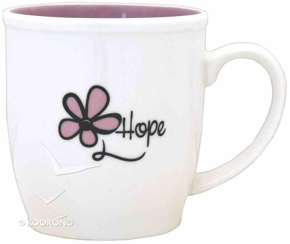 Ceramic Mug: Hope With Flower, White & Pastel Purple Homeware