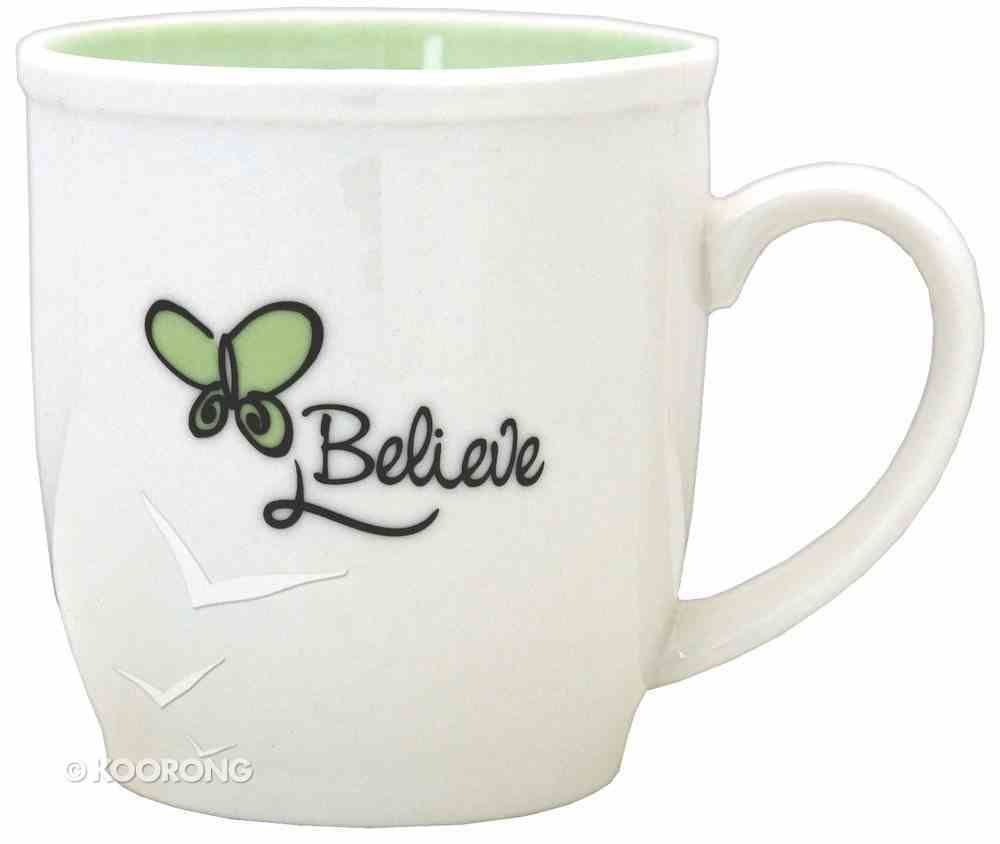 Ceramic Mug: Believe With Butterfly, White & Pastel Green Homeware