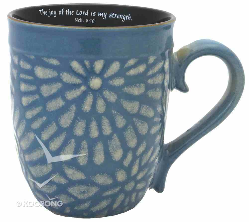 Mug Floral Glazed: Blue, the Joy of the Lord Homeware