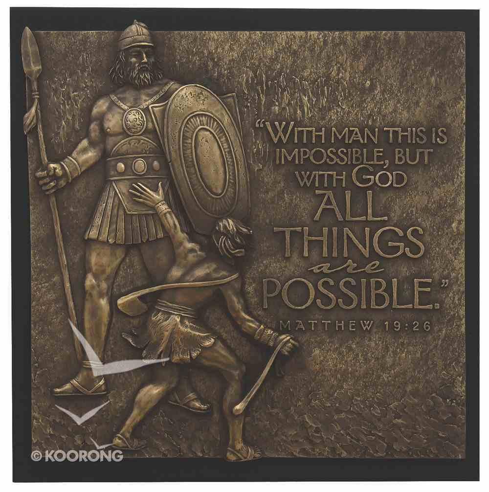 David & Goliath Moments of Faith Sculpture Plaque Plaque