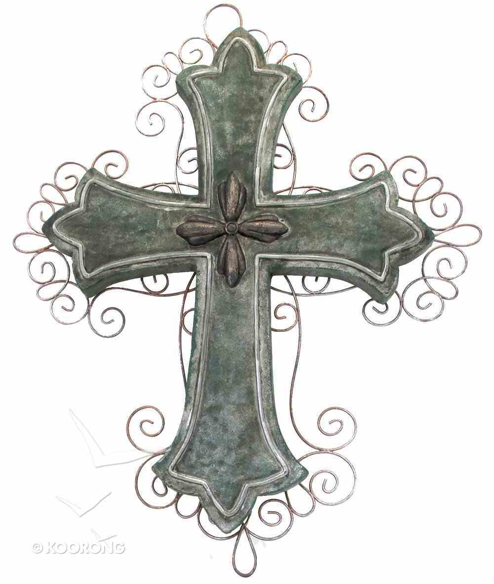 Wall Cross With Metal, Height 49Cm (Polyresin) Homeware