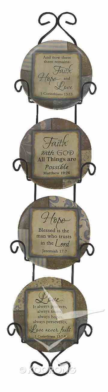 Ceramic Plates Set of 4 With Rack: Faith, Hope, Love Homeware