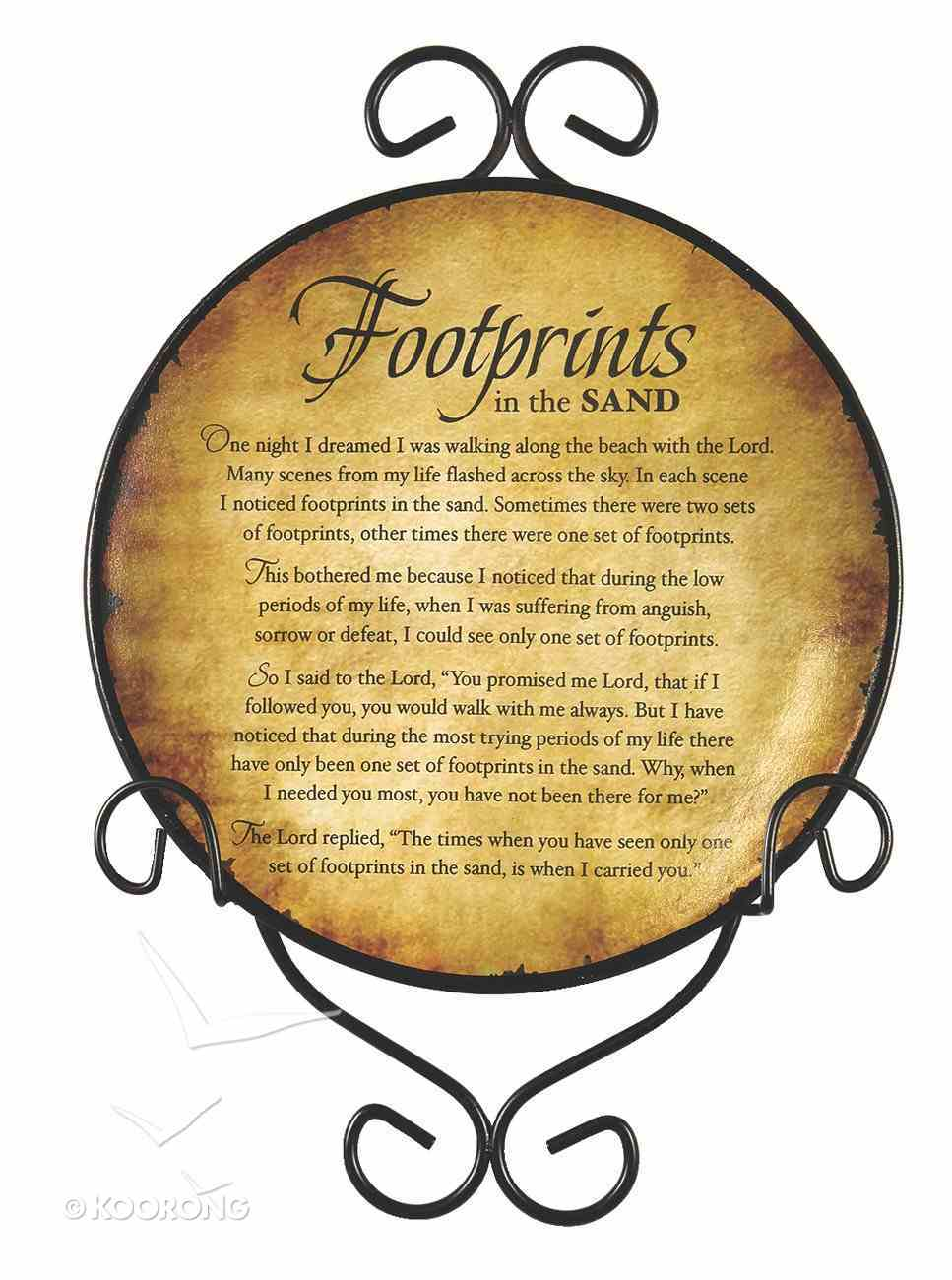 Ceramic Plate With Display Rack: Footprints Homeware